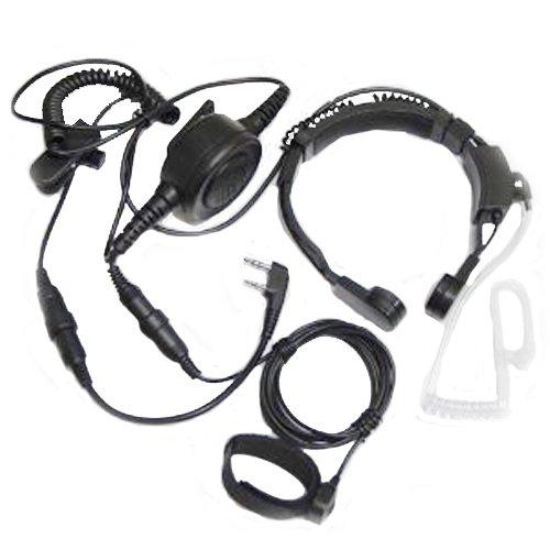 Embest Throat Mic Headset With Finger Ptt Compatible For Kenwood Radios Tk-3206 Tk-3207 Baofeng Radio Uv-5R