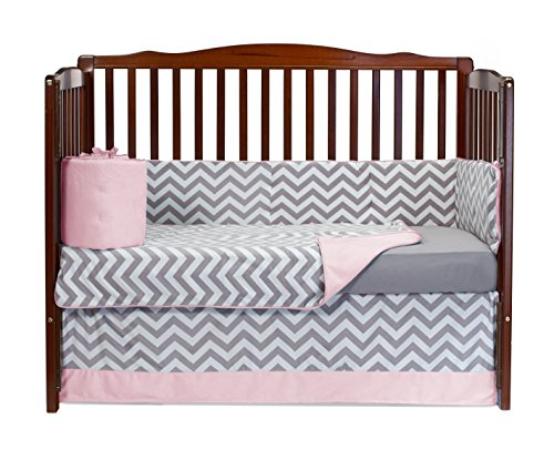 Baby Doll Minky Chevron 4 Piece Crib Bedding Set, Pink