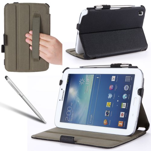 i-Blason Samsung Galaxy Tab 3 8.0 Auto Wake / Sleep Slim Folio Book Shell Stand case Cover with Elastic Hand Strap, Stylus Loop & Bonus Stylus (3 Year Warranty) (Black)