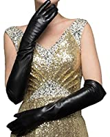 CASF Super Long Opera Ladies Lambskin Genuine Leather Gloves For Women Black