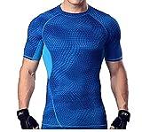メンズ 吸汗速乾 コンプレッションウェア 機能性 着圧 スポーツインナー 半袖 tシャツ姿勢矯正 猫背解消 加圧シャツ (07. ブルーM)