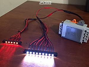 Lego Technic LED Lighting Kit - 9W5R - 14 LEDs IN TOTAL! 11T-7T - GENUINE LEGO TECHNIC BEAMS - PLUG & PLAY - WORKS WITH LEGO POWER FUNCTIONS, 8293, 8885, 88000, 8881, 8878, 8879, 8887, 8871, 8869, 8870, 8882, 88004, 88003, 8883, 42008, 10244, 9398, 42006, 10233, 42030, 42009, 42029, 42000, 42025, 42024, AND MORE. Similar to Key Light, Torch Light, Head Light, Power Functions Light, Flashlight Torch, Book Light, Lantern Etc.