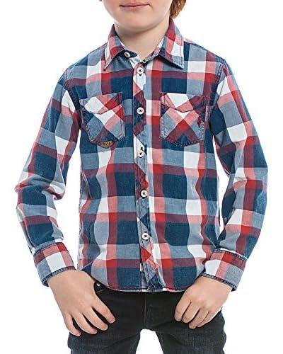 M C S Camisa Niño Checked Azul / Rojo