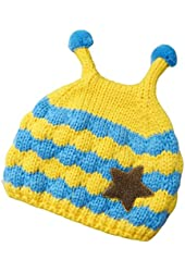 Javier Boy Girl Knit Beanie Crochet Rib Pom Pom Warm Hat/ Cap Yellow
