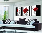 Espritte Art-Abstract Art In Black White Red Decorative Wall Decorative Canvas Print Set Of 3 without Framed Fashionable Home Decoration set of 3 Each is 50*50cm