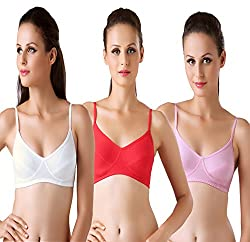 Bodyline Hosiery Non Padded White Pink and Red Bra