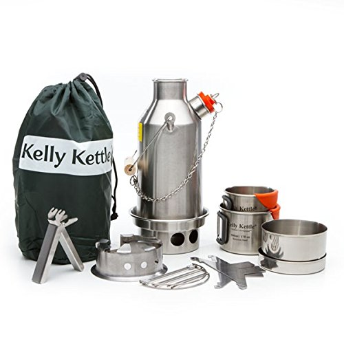 Kelly Kettle Ultimate Stainless Steel Small Trekker Camp Stove Kit. New Spot Welded Model. The Perfect Camp Stove for Cooking, Hiking, Camping, Kaya