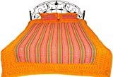 Exotic India Marigold Sanganeri Bedspread from Gujarat with Geometric Print and Kantha Stitch - Pure
