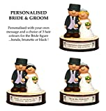 PERSONALIZED Wedding / Anniversary Gift - Bride and Groom with your own message and a choice of hair colour for the bride ! (Gift Boxed) - Kerr Characters (Blonde)