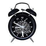Mini Mechanical Digital Desk Twin Bell Alarm Clock Night Light Silent Matte Metal Tree 4inch Black