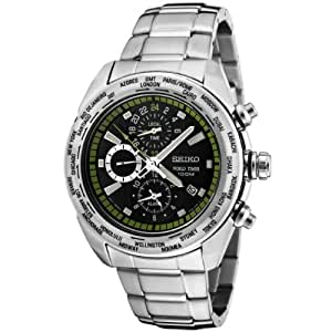Seiko Men's SPL033 Premier Chronograph World Timer Black Dial Stainless Steel Watch