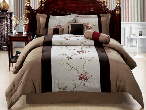 7 piece patchwork comforter set chocolate brown camel burgundy bedding california cal king review