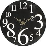 不二貿易 壁掛け時計 レトロ 直径32cm ブラウン 56921