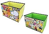 【スヌーピー】収納ボックス + ミニタオル セット ピーナッツ フタ付き フタなし キャラクター ストレージbox お片付けボックス (2色セットC(イエロー+グリーン) + ミニタオル)