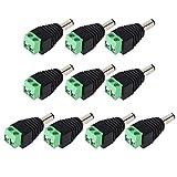 DCプラグ 外径5.5mm、内径2.1mm 2P端子台変換アダプタ 2.1φDCプラグ-2P端子台 変換コネクタ CCTV用 (5個オス+5個メス)