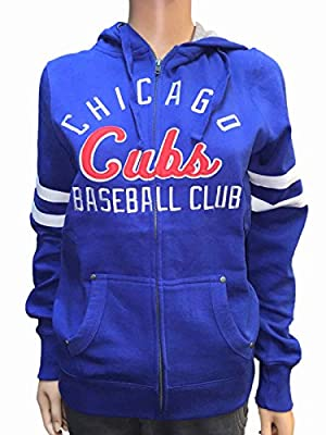 Chicago Cubs SAAG Women Royal Blue Fleece Zip Up Thermal Hoodie Jacket