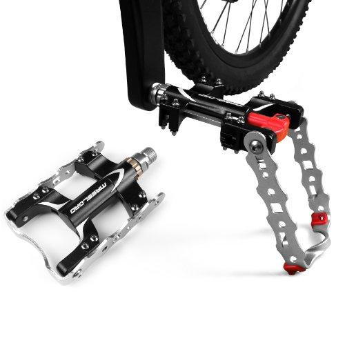 BV Fahrrad-Fußpedale, Fahrradpedale + Seitenständer 2 in1, Legierung, Mountain Bike Pedals,