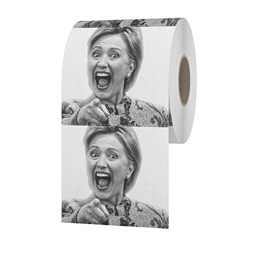 Hillary Clinton Toilet Paper, Flip-Flop-Flush, Wipe Your Bottom Away With The Best Quality Novelty Toilet Paper Available, The Most Supreme Gag Of The 2016 Election