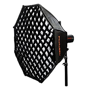 PhotoSEL SBSC120BE 120 cm Octagonal Softbox with Honeycomb Grid - S-Type Mount, for PhotoSEL / Bowens Studio Flash