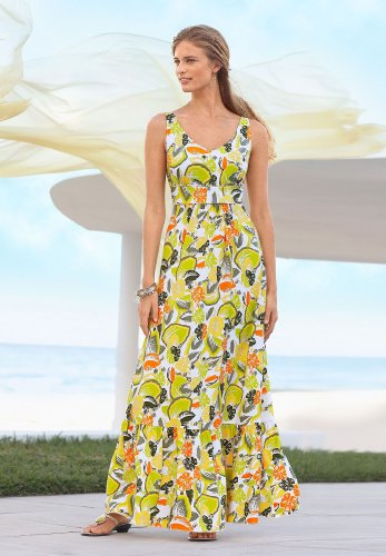 Chadwicks Citrus Print Knit Maxi Dress