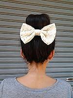 CREAM LACE BIG BOW HAIR CLIP