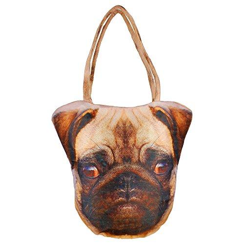 Digital Graphic testa di cane Indian Face borsa - Poliestere Dupion Faux Seta - stampa all-over - 12 x 12 x 24 pollici