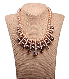 buy Btime Women'S Fashion Faux Pears Crystal Multilayer Collar Necklace(Brown)