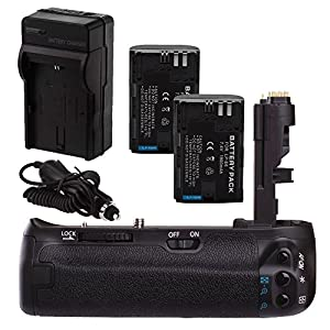 Neewer® BG-70D Battery Grip Kit for Canon EOS 70D Includes Vertical Battery Grip + 2 Replacement LP-E6 Batteries + Battery Charger