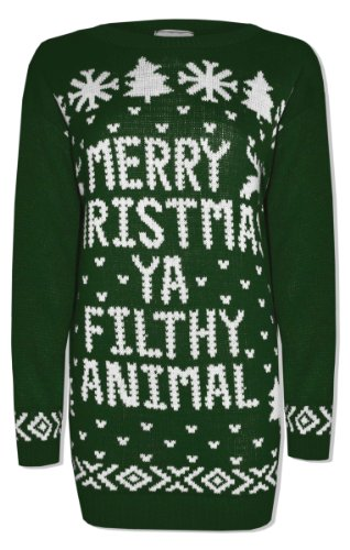 Mens-Ladies-Merry-Christmas-Ya-Filthy-Animal-Novelty-Retro-Xmas-Home-Top-Jumper