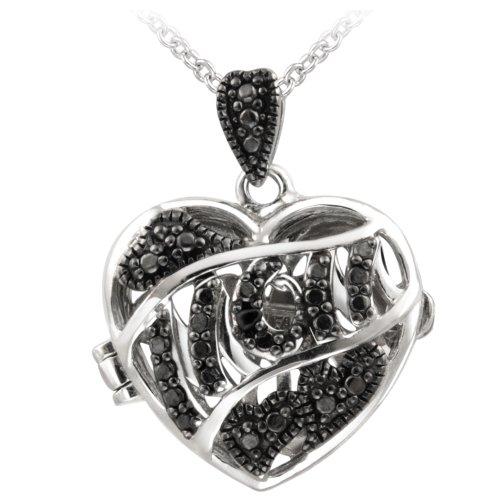 Silver-Tone Black Diamond Accent MOM Heart Locket Necklace