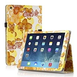 TNP iPad 2/3/4 Case (Flower Yellow) - Slim Fit Synthetic Leather Folio Case Stand with Smart Cover Auto Sleep & Wake Feature and Stylus Holder for Apple iPad 4th Gen, the New iPad 3 and iPad 2
