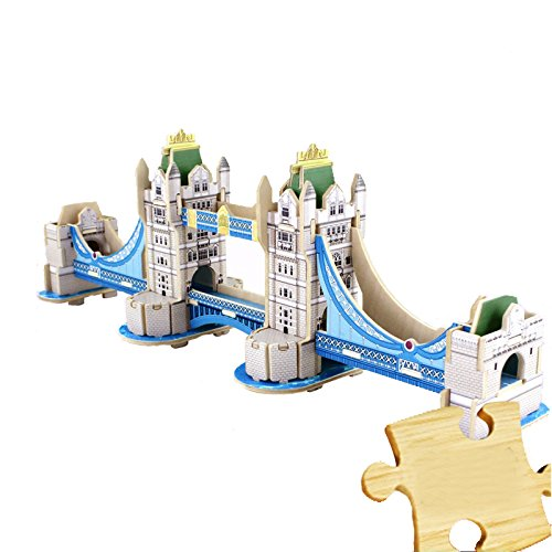 Dodolive Interactive Assembly DIY 3D Wooden Jigsaw Puzzle,Model of London Tower Bridge