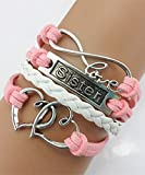 Handmade Sister Heart to Heart Charm for Friendship Gift - Fashion Personalized Leather Bracelet