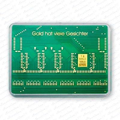 """Goldbarren 1g 1 Gramm Motivbox """" Leiterplatte """" Gold Barren + Zertifikat von der Marke Securina24"""