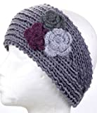 Facnos Knitted Headband Hat with Knitted Flower