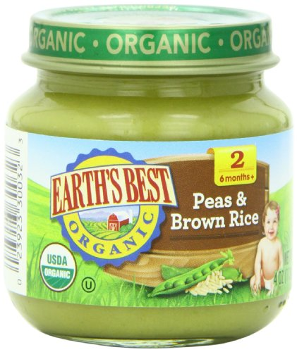 Earth'S Best Organic Baby Food, Peas & Brown Rice, 4 Ounce (Pack Of 12)