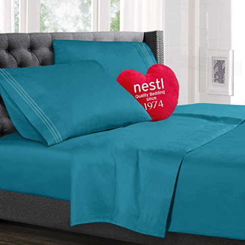 Bed Sheet Bedding Set, Full Double Size, Teal, 100% Soft Brushed Microfiber Fabric with Deep Pocket Fitted Sheet, 1800 Luxury Bedding Collection, Hypoallergenic & Wrinkle Free Bedroom Linen Set By Nestl Bedding (Full Bedding Sheets compare prices)