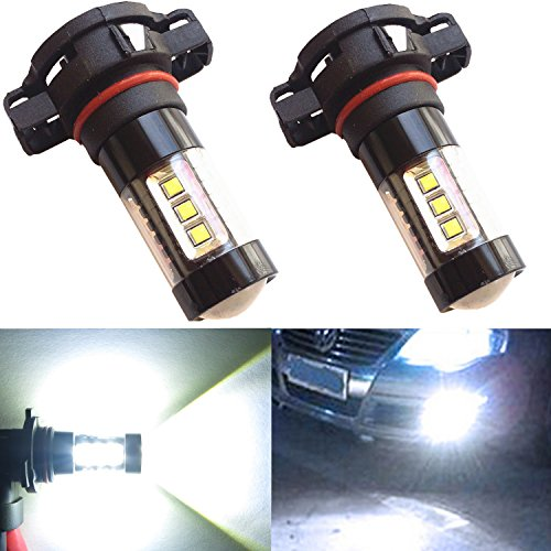 Alla Lighting 80W High Power Osram Xtremely Super Bright 2504 PSX24W LED Bulbs White for Fog Light Lamp (Fog Bulb White compare prices)