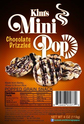 Kim's Mini Pop Chocolate Drizzled Flavor 6 Packs: Popped Grain Snack, Savory Flavored Rice Cake