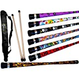 ART DECO Pro Devil Stick Set (7 Arty Designs!) With Silicone-coated Wooden Handsticks + Flames N Gam