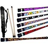 ART DECO Pro Devil Stick Set (7 Arty Designs!) With Silicone-coated Wooden Handsticks + Flames N Gam