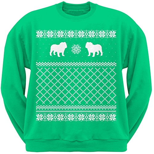 Bulldog Green Adult Ugly Christmas Sweater Crew Neck Sweatshirt - Small