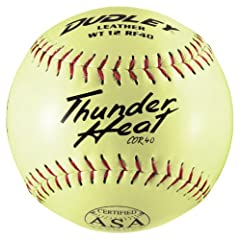 Dudley ASA Thunder Heat Leather 12 (.40) Slow Pitch Softball - Leather Cover - Dozen by Dudley