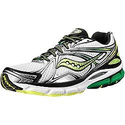 Saucony Men's Hurricane 16 Running Shoe,White/Green/Citron,9.5 M US