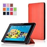 Fire HD 6 Case - Exact Amazon Fire HD 6 Case [SLENDER Series] - Ultra Slim Lightweight Smart-Shell Stand Case for Amazon Kindle Fire HD 6 (2014) Orange