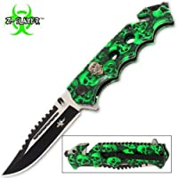 Green Skull Zombie Slayer GRIP HANDLE ASSISTED OPENING RESCUE POCKET KNIFE With Glass Breaker 1