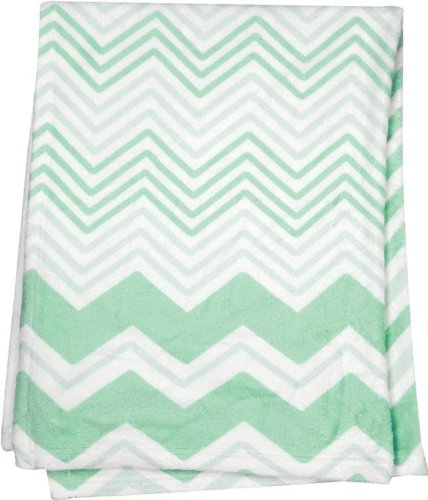 Manual Woodworkers and Weavers Chevron Baby Blanket Throw (Green Wide)