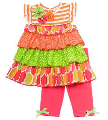 Size-4T, Orange, RRE-65313,Orange and White Striped Knit to Tiered Mix Print Dress and Legging Outfit Set, Rare EditionsTODDLERS, Girl Party Dress