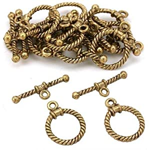 Twisted Bali Toggle Clasp Antique Gold Plated Approx 12