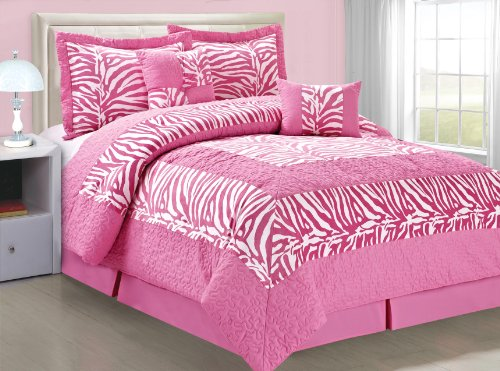 Bnf Home Animal Style Pink White Zebra 6 Pieces Bed In A Bag Set (King) front-999527